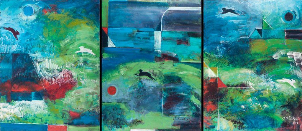 Rabbit Triptych Painting