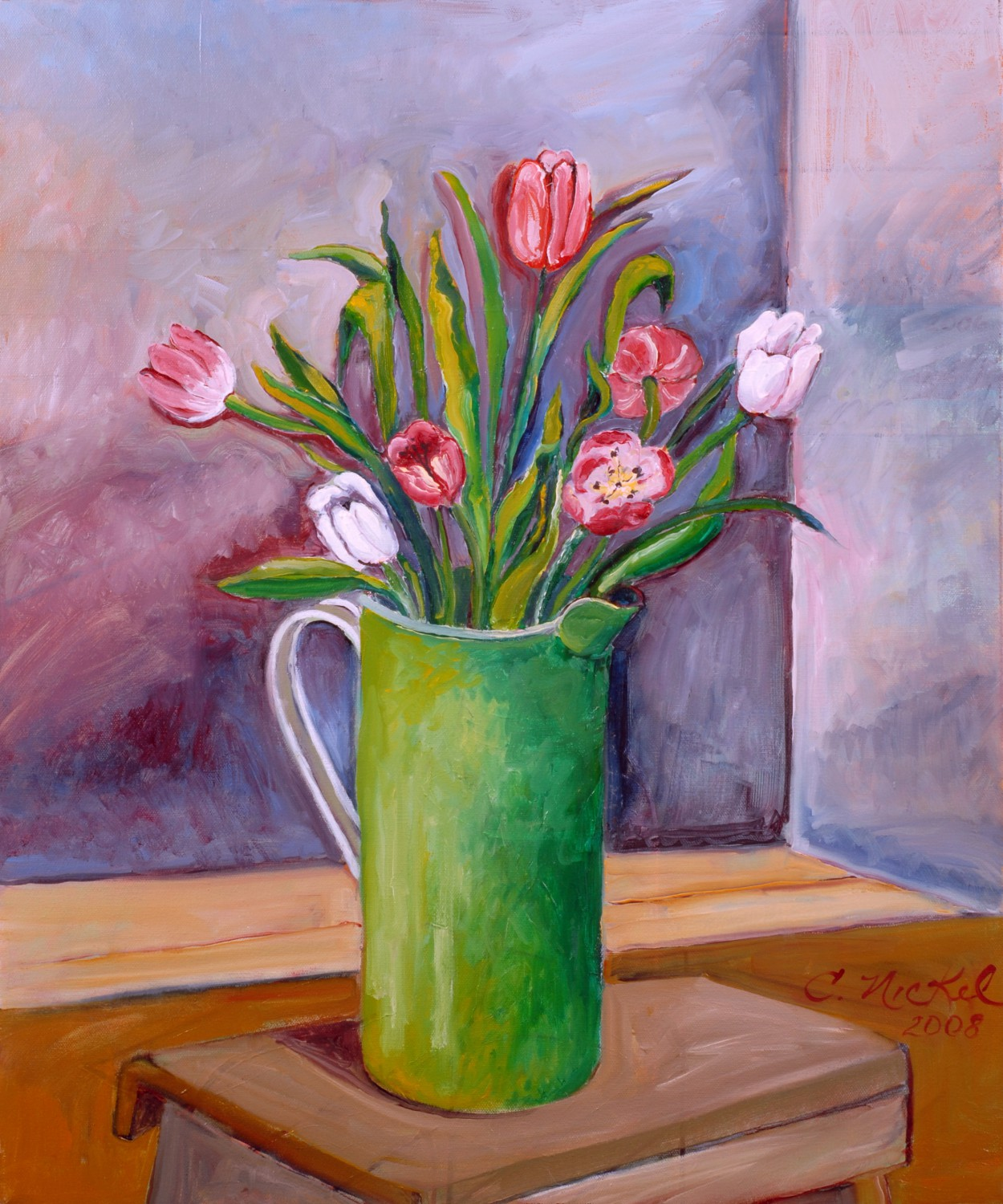 Enamelware Pitcher with Tulips